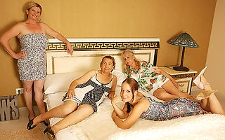 Four old and young lesbians having a special party