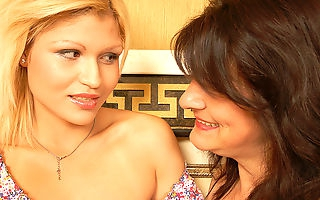 Hot blonde doing her mature lesbian lover all night long