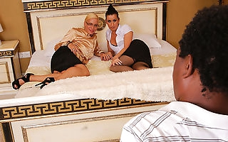 Two horny MILFS get it on with their black stud